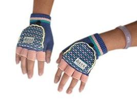 PANDA SUPERSTORE Blue & Pink Half Finger Gloves for Women Winter Gloves