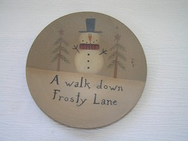 Tan & Black Painted Small Wood Plate with Snowman Fir Trees & A Walk Dow... - $10.39