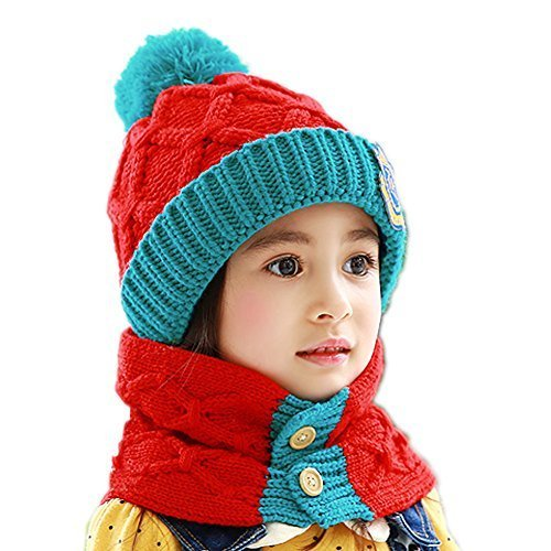 Baby/Child Red Cap Handmade Hat Knitting Winter Warm Hat+Scarf 6 Months-4 Years