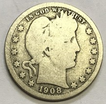 1908-D BARBER QUARTER - NICE GRADE CIRCULATED COIN   #746 - $7.19