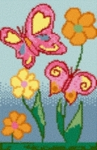 Latch Hook Rug Pattern Chart: Dancing Butterflies - EMAIL2u - $5.75