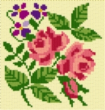 Latch Hook Rug Pattern Chart: WILD ROSES - EMAIL2u - $5.75