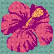 Latch Hook Rug Pattern Chart: Hibiscus Pillow Top - EMAIL2u - $5.50
