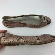 Coach Driving Shoes Womens 39.5 Gray Leather Slip On Snakeskin Flats Rou... - $28.98