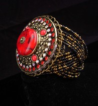 BOLD RED bracelet / HUGE medallion cuff / Red gypsy cuff / statement bra... - $145.00