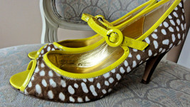 J.Crew Collection Peep Toe Pumps YELLOW/CHARTREUSE/BROWN Size 10 Usa - $65.00