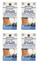 4 Packs of Hyleys 100% Natural Slim Green Tea Blueberry Flavor 25 Teabags Each - $19.99