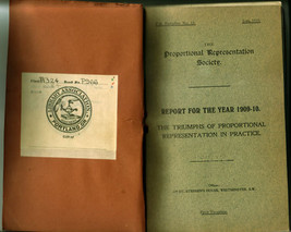Six Publications of the Proportional Representation Society (1905-1913) - $50.00