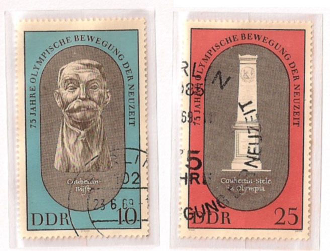 Old German Stamps - 75 Years of the Olympic Movement