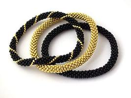 Beaded Crochet Bracelets Triple Set Black Gold Stackable Bangle - $17.00+