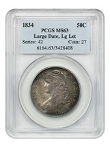 1834 50c PCGS MS63 (Large Date, Large Letter) Beautiful Rim Toning - $2,318.30