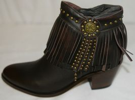 Lucky And Blessed SH 11 Dark Brown Leather Boots Fringe Metal Studs Size 7 image 7