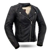 Women Leather Black Widow 0.8-0.9mm Sheep Diamond Motorcycle Jacket by F... - $269.99+