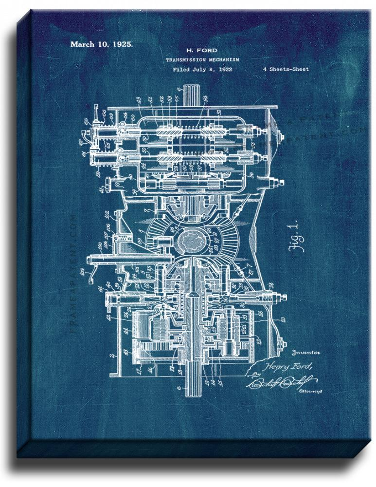 Primary image for Transmission Mechanism Patent Print Midnight Blue on Canvas