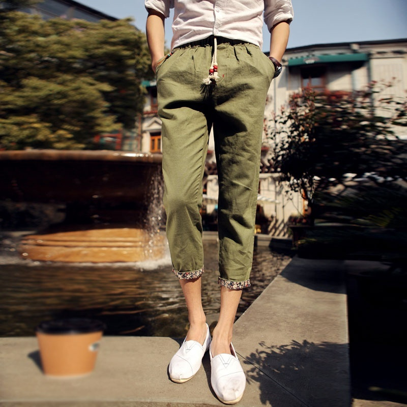 Men Casual Solid Color Nine Minutes Pants Thin Loose Pants image 4