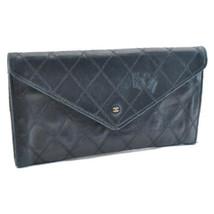 CHANEL Lamb Skin Leather Matelasse Long Wallet Black CC Auth 9163 - $120.00