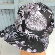 Floral Gray Black Headlines Snapback Baseball Cap Hat 100% Cotton - $13.75
