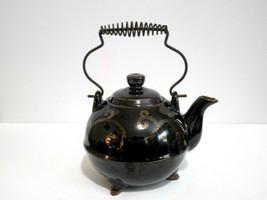 "Brown Ceramic Teapot Metal Handle Gold Swirl Pattern 3 footed Vintage 7x9"" - $18.61"
