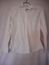 GAP Stretch White  Size L button front top blouse - $19.79