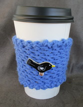 To Go Cup Cozy Sleeve in blue with black ceramic bird shape button - $5.95
