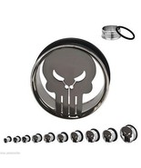 "PAIR-Punisher Marvel Comics Steel Single Flare Ear Tunnels 22mm/7/8"" Gau... - $15.99"