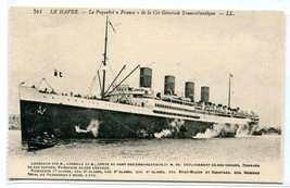 Steamer France Ocean Liner Ship Paquebot Le Havre 1910c postcard - $6.39
