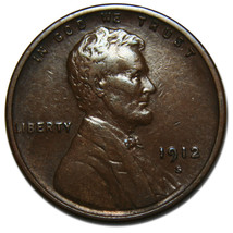 1912S One Cent Lincoln Head Penny Coin Lot# MZ 3473