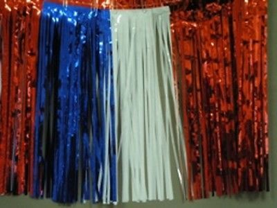 """Metallic red-white-blue Fringed Garland Valance Party decor 10 ft long x 15"""""""