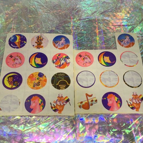 TWO Partial Lisa Frank Sticker Sheets S101 1st Sheet Only One Missing Sticker