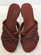 74488e021bc168 Liz Sport Liz Claiborne Slide Sandals 9.5 Brown Leather Beaded Criss Cross  Strap -  19.99