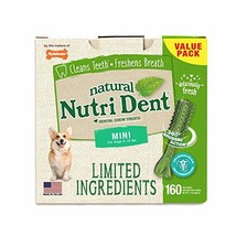 Nylabone NutriDent Natural Dental Chew Treats Fresh Breath, Mini, 160 Count
