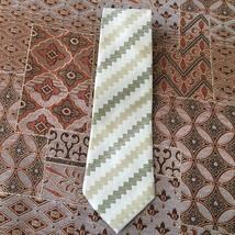 Giorgio Armani Black Label Hand Made in Italy Silk Men's Tie Green Square Stripe - $38.22