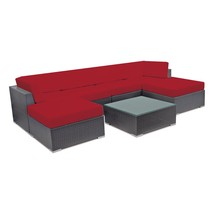 Outdoor Sectional Sofa Set Patio Wicker Rattan Couch Sofa Set w/ Ottoman... - $1,107.41