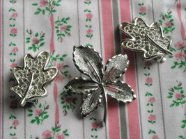 Vintage Sarah Coventry Silver Tone Leaf Pin Brooch & Leaf Clip Earrings - $6.75