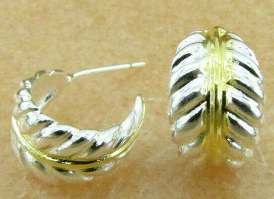 Primary image for Curved Feather Stud Earrings with Gold Accents 925 Sterling Silver NEW