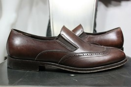 Salvatore Ferragamo leather loafers 8 EE slip on brown cap toe made in italy - $140.00