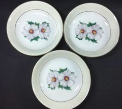 """Set of 3 Barry or Fruit Bowls Narumi China Floral Gold Trim 5-3/8"""" - $19.79"""