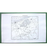 "1846 ANTIQUE ORIGINAL MAP - FRANCE Dunkirk & Environs 10 x 15"" (25 x 38 cm) - $18.90"