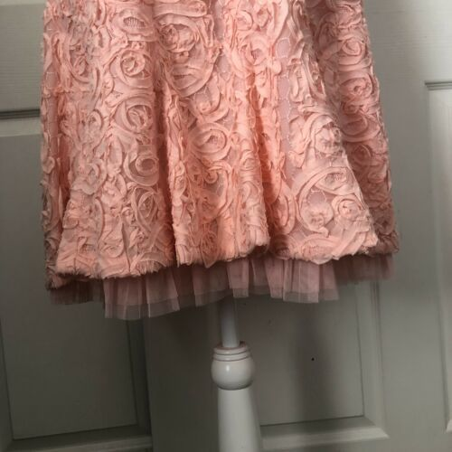 BCBG PINK SOUTACHE LACE BACKLESS MINI COCKTAIL PARTY DRESS SIZE 12