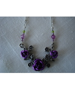 Purple Carved Metal Roses Silvertone Necklace, Beads - $6.99