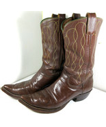 Vintage HYER Cowboy Boots J-Toe Pointed Brown Embroidered Size 10.5 B US... - $89.05