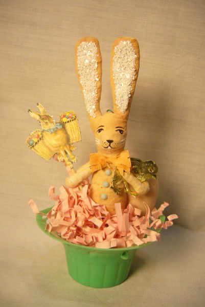Vintage Inspired Spun Cotton Rabbit in Basket no. 165