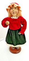 "Vintage Christmas Caroler Doll on Wood Stand Posable Arms  9"" tall USA S... - $15.65"