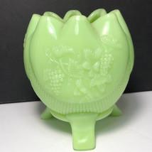 FENTON VINTAGE GLASS vase glassware bowl lime satin green grapes 3 legged candle - $64.35