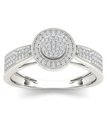 IGI Certified 10k White Gold 0.25 Ct Diamond Cluster Halo Engagement Ring - £231.23 GBP