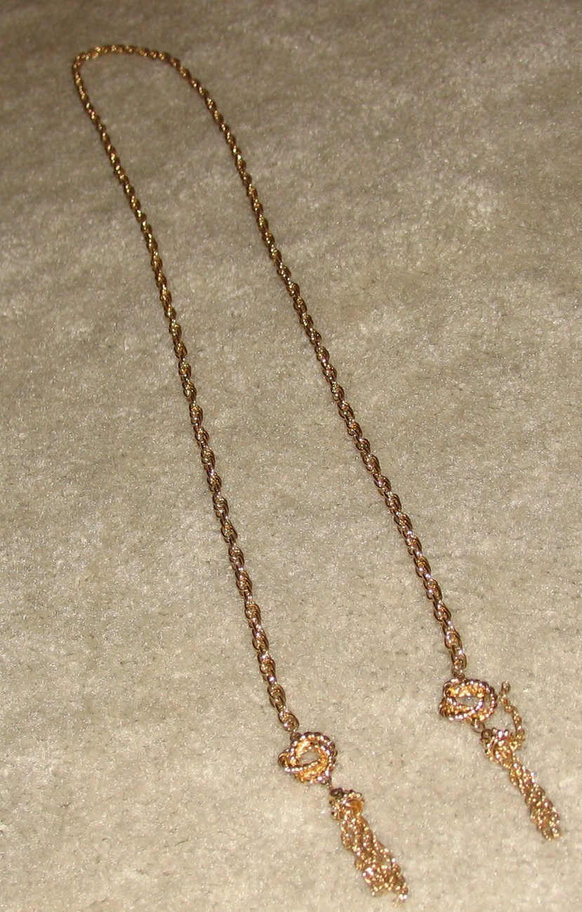 """Vintage Costume Jewelry Goldtone 40"""" Chain Belt with Tassles"""