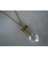 Simulated Pearl Heart, Goldtone Bow Pendant Necklace - $7.99