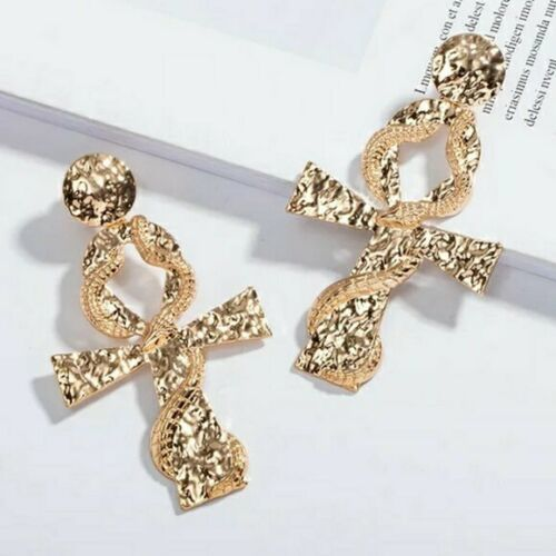 Primary image for Gold Ankh Cross Dangle Earrings Bold Trendy Dragon Snake Fashion Jewelry 3""