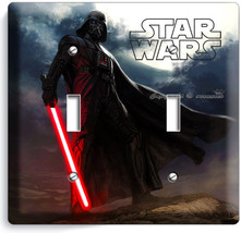DARTH VADER RED SWORD STAR WARS DARK FORCE DOUBLE LIGHT SWITCH COVER ROO... - $10.79
