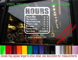 Store Hours Custom Window Decal Business Sign Restaurant Cafe Deli Bar Grocery - $24.99+